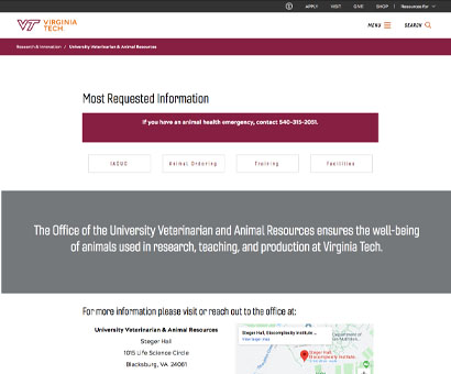 University Veterinarian and Animal Resources at Virginia Tech